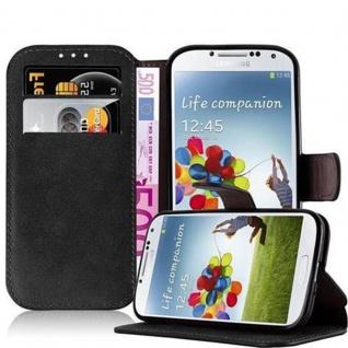 Cadorabo Hülle für Samsung Galaxy S4 - Hülle in MATT SCHWARZ - Handyhülle mit Standfunktion und Kartenfach im Retro Design - Case Cover Schutzhülle Etui Tasche Book Klapp Style