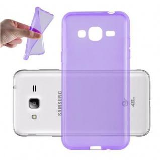 Cadorabo Hülle für Samsung Galaxy J3 2016 in TRANSPARENT LILA - Handyhülle aus flexiblem TPU Silikon - Silikonhülle Schutzhülle Ultra Slim Soft Back Cover Case Bumper
