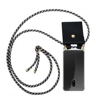 Cadorabo Handy Kette für Nokia 6 2017 in DUNKELBLAU GELB - Silikon Necklace Umhänge Hülle mit Gold Ringen, Kordel Band Schnur und abnehmbarem Etui ? Schutzhülle