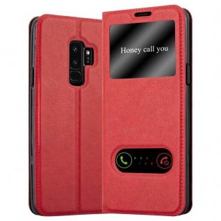 Cadorabo Hülle für Samsung Galaxy S9 PLUS in SAFRAN ROT - Handyhülle mit Magnetverschluss, Standfunktion und 2 Sichtfenstern - Case Cover Schutzhülle Etui Tasche Book Klapp Style