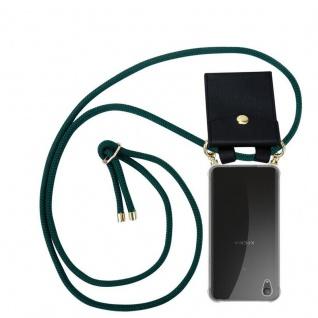 Cadorabo Handy Kette für Sony Xperia XA1 PLUS in ARMEE GRÜN Silikon Necklace Umhänge Hülle mit Gold Ringen, Kordel Band Schnur und abnehmbarem Etui Schutzhülle