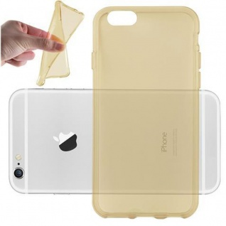 Cadorabo Hülle für Apple iPhone 6 / iPhone 6S - Hülle in TRANSPARENT GOLD ? Handyhülle aus TPU Silikon im Ultra Slim 'AIR' Design - Ultra Slim Soft Backcover Case Bumper