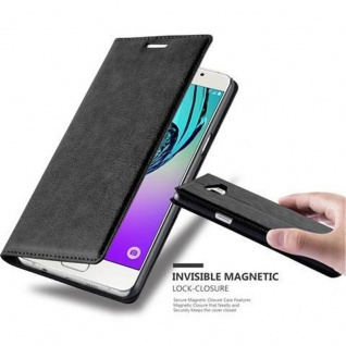 Cadorabo Hülle für Samsung Galaxy A5 2016 in NACHT SCHWARZ - Handyhülle mit Magnetverschluss, Standfunktion und Kartenfach - Case Cover Schutzhülle Etui Tasche Book Klapp Style