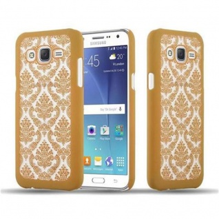 Samsung Galaxy J5 2015 Hardcase Hülle in GOLD von Cadorabo - Blumen Paisley Henna Design Schutzhülle ? Handyhülle Bumper Back Case Cover