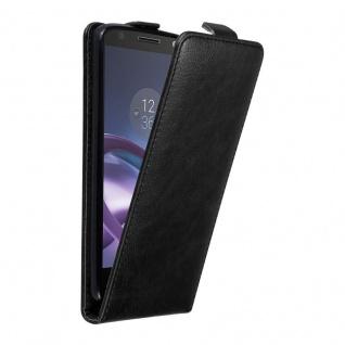 Cadorabo Hülle für Motorola MOTO Z in NACHT SCHWARZ Handyhülle im Flip Design mit unsichtbarem Magnetverschluss Case Cover Schutzhülle Etui Tasche Book Klapp Style