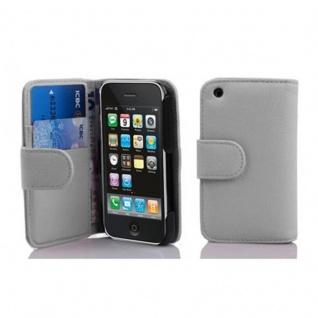Cadorabo Hülle für Apple iPhone 3 / iPhone 3GS in MAGNESIUM WEIß ? Handyhülle aus strukturiertem Kunstleder mit Standfunktion und Kartenfach ? Case Cover Schutzhülle Etui Tasche Book Klapp Style