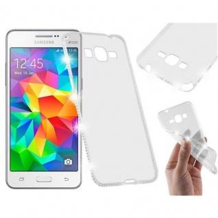 Cadorabo Hülle für Samsung Galaxy GRAND PRIME - Hülle in TRANSPARENT WEIß ? Handyhülle aus TPU Silikon im Strass Design - Silikonhülle Schutzhülle Ultra Slim Soft Back Cover Case Bumper