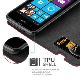 Cadorabo Hülle für Nokia Lumia 530 in APFEL ROT Handyhülle mit Magnetverschluss, Standfunktion und Kartenfach Case Cover Schutzhülle Etui Tasche Book Klapp Style - Vorschau 3