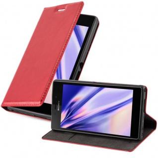 Cadorabo Hülle für Sony Xperia M2 / M2 Aqua in APFEL ROT - Handyhülle mit Magnetverschluss, Standfunktion und Kartenfach - Case Cover Schutzhülle Etui Tasche Book Klapp Style