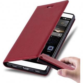 Cadorabo Hülle für Huawei P8 in APFEL ROT Handyhülle mit Magnetverschluss, Standfunktion und Kartenfach Case Cover Schutzhülle Etui Tasche Book Klapp Style