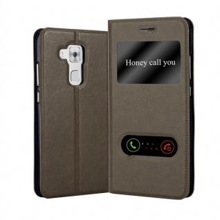 Cadorabo Hülle für Huawei NOVA PLUS in STEIN BRAUN - Handyhülle mit Magnetverschluss, Standfunktion und 2 Sichtfenstern - Case Cover Schutzhülle Etui Tasche Book Klapp Style