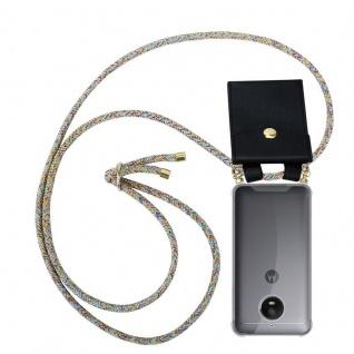 Cadorabo Handy Kette für Motorola MOTO E4 in RAINBOW - Silikon Necklace Umhänge Hülle mit Gold Ringen, Kordel Band Schnur und abnehmbarem Etui ? Schutzhülle