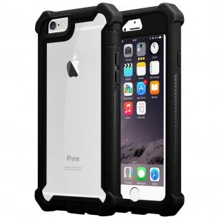 Cadorabo Hülle für Apple iPhone 6 / iPhone 6S in ERLEN SCHWARZ - 2-in-1 Handyhülle mit TPU Silikon-Rand und Acryl-Glas-Rücken - Schutzhülle Hybrid Hardcase Back Case