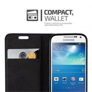 Cadorabo Hülle für Samsung Galaxy S4 MINI in NACHT SCHWARZ - Handyhülle mit Magnetverschluss, Standfunktion und Kartenfach - Case Cover Schutzhülle Etui Tasche Book Klapp Style - Vorschau 3