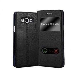 Cadorabo Hülle für Samsung Galaxy A7 2015 in KOMETEN SCHWARZ - Handyhülle mit Magnetverschluss, Standfunktion und 2 Sichtfenstern - Case Cover Schutzhülle Etui Tasche Book Klapp Style