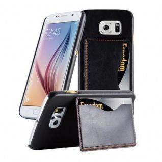 Cadorabo Hülle für Samsung Galaxy S6 - Hülle in SCHWARZ ? Handyhülle mit Kartenfach und Standfunktion - Hardcase Bumper Back Case Cover