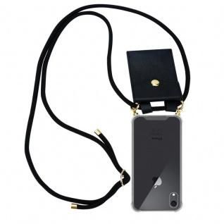 Cadorabo Handy Kette für Apple iPhone XR in SCHWARZ ? Silikon Necklace Umhänge Hülle mit Gold Ringen, Kordel Band Schnur und abnehmbarem Etui ? Schutzhülle