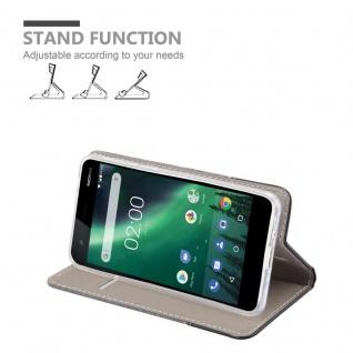 Cadorabo Hülle für Nokia 2 2017 in GRAU SCHWARZ - Handyhülle mit Magnetverschluss, Standfunktion und Kartenfach - Case Cover Schutzhülle Etui Tasche Book Klapp Style - Vorschau 3