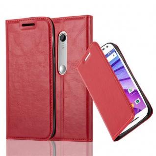 Cadorabo Hülle für Motorola MOTO G3 in APFEL ROT Handyhülle mit Magnetverschluss, Standfunktion und Kartenfach Case Cover Schutzhülle Etui Tasche Book Klapp Style
