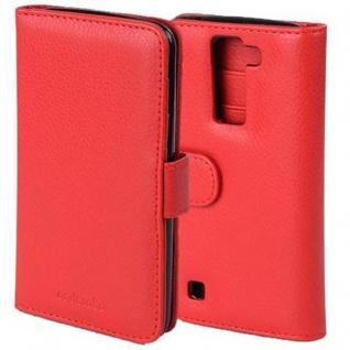 Cadorabo Hülle für LG K8 2016 in INFERNO ROT - Handyhülle mit Magnetverschluss und 3 Kartenfächern - Case Cover Schutzhülle Etui Tasche Book Klapp Style