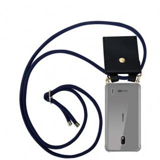 Cadorabo Handy Kette für Nokia 2.2 in TIEF BLAU - Silikon Necklace Umhänge Hülle mit Gold Ringen, Kordel Band Schnur und abnehmbarem Etui ? Schutzhülle