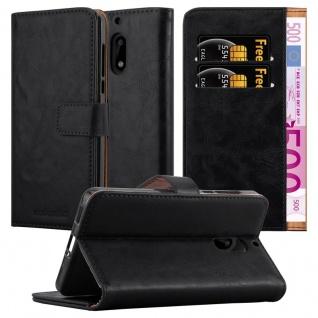 Cadorabo Hülle für Nokia 6 2017 in GRAPHIT SCHWARZ ? Handyhülle mit Magnetverschluss, Standfunktion und Kartenfach ? Case Cover Schutzhülle Etui Tasche Book Klapp Style