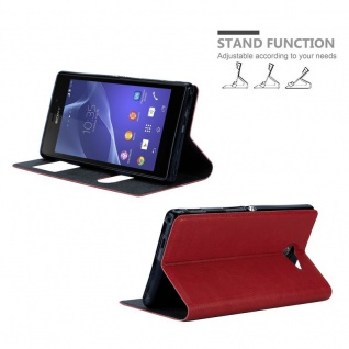 Cadorabo Hülle für Sony Xperia M2 / M2 Aqua in SAFRAN ROT - Handyhülle mit Magnetverschluss, Standfunktion und 2 Sichtfenstern - Case Cover Schutzhülle Etui Tasche Book Klapp Style - Vorschau 4
