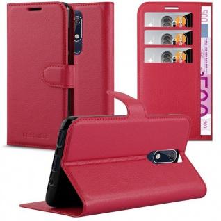 Cadorabo Hülle für Nokia 5.1 2018 in KARMIN ROT Handyhülle mit Magnetverschluss, Standfunktion und Kartenfach Case Cover Schutzhülle Etui Tasche Book Klapp Style