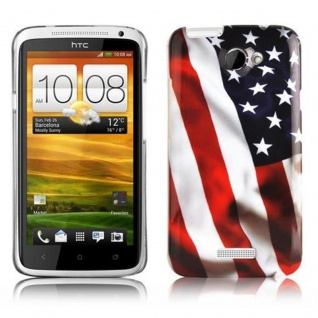 Cadorabo - Hard Cover für HTC ONE X / ONE X+ - Case Cover Schutzhülle Bumper im Design: STARS AND STRIPES