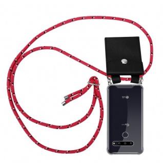 Cadorabo Handy Kette für LG G8 ThinQ in PINK SCHWARZ WEISS GEPUNKTET - Silikon Necklace Umhänge Hülle mit Silber Ringen, Kordel Band Schnur und abnehmbarem Etui - Schutzhülle