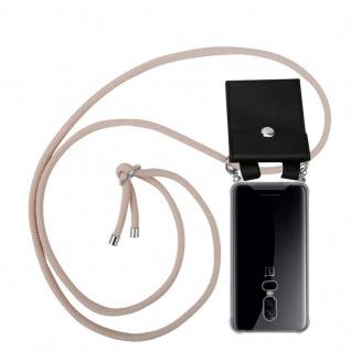 Cadorabo Handy Kette für OnePlus 6 in PERLIG ROSÉGOLD - Silikon Necklace Umhänge Hülle mit Silber Ringen, Kordel Band Schnur und abnehmbarem Etui - Schutzhülle