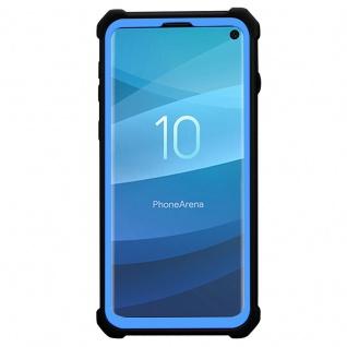 Cadorabo Hülle für Samsung Galaxy S10 PLUS in BLAU SCHWARZ - 2-in-1 Handyhülle mit TPU Silikon-Rand und Acryl-Glas-Rücken - Schutzhülle Hybrid Hardcase Back Case - Vorschau 4