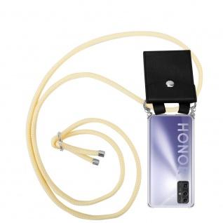 Cadorabo Handy Kette für Honor 30 in CREME BEIGE Silikon Necklace Umhänge Hülle mit Silber Ringen, Kordel Band Schnur und abnehmbarem Etui Schutzhülle