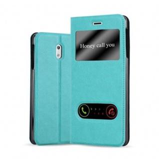 Cadorabo Hülle für Nokia 3 2017 in MINT TÜRKIS Handyhülle mit Magnetverschluss, Standfunktion und 2 Sichtfenstern Case Cover Schutzhülle Etui Tasche Book Klapp Style