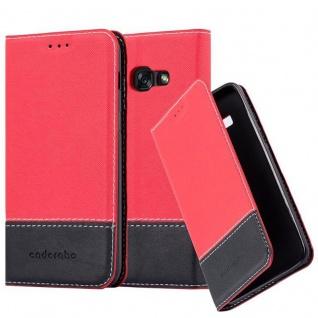 Cadorabo Hülle für Samsung Galaxy A5 2017 in ROT SCHWARZ ? Handyhülle mit Magnetverschluss, Standfunktion und Kartenfach ? Case Cover Schutzhülle Etui Tasche Book Klapp Style