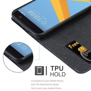 Cadorabo Hülle für HTC 10 (One M10) in DUNKEL BLAU BRAUN ? Handyhülle mit Magnetverschluss, Standfunktion und Kartenfach ? Case Cover Schutzhülle Etui Tasche Book Klapp Style