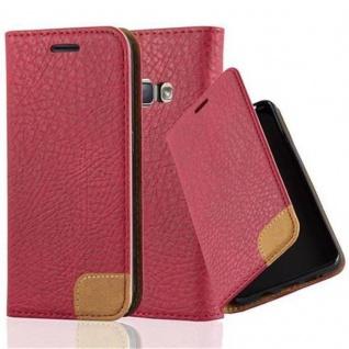 Cadorabo Hülle für Samsung Galaxy J1 2016 - Hülle in ABEND ROT ? Handyhülle mit Standfunktion, Kartenfach und Textil-Patch - Case Cover Schutzhülle Etui Tasche Book Klapp Style