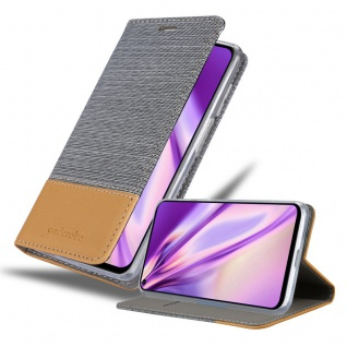 Cadorabo Hülle für Huawei Nova 5T in HELL GRAU BRAUN Handyhülle mit Magnetverschluss, Standfunktion und Kartenfach Case Cover Schutzhülle Etui Tasche Book Klapp Style