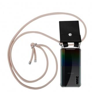 Cadorabo Handy Kette für Samsung Galaxy A90 5G in PERLIG ROSÉGOLD Silikon Necklace Umhänge Hülle mit Silber Ringen, Kordel Band Schnur und abnehmbarem Etui Schutzhülle