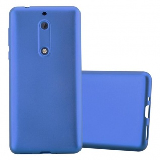 Cadorabo Hülle für Nokia 5 2017 in METALLIC BLAU - Handyhülle aus flexiblem TPU Silikon - Silikonhülle Schutzhülle Ultra Slim Soft Back Cover Case Bumper