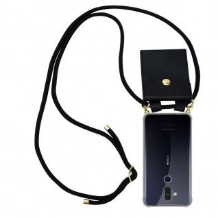 Cadorabo Handy Kette für Nokia 8.1 2018 in SCHWARZ - Silikon Necklace Umhänge Hülle mit Gold Ringen, Kordel Band Schnur und abnehmbarem Etui ? Schutzhülle