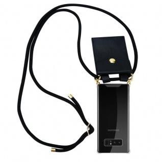 Cadorabo Handy Kette für Samsung Galaxy NOTE 8 in SCHWARZ Silikon Necklace Umhänge Hülle mit Gold Ringen, Kordel Band Schnur und abnehmbarem Etui Schutzhülle