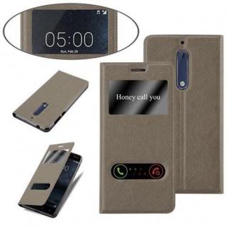 Cadorabo Hülle für Nokia 5 2017 in STEIN BRAUN - Handyhülle mit Magnetverschluss, Standfunktion und 2 Sichtfenstern - Case Cover Schutzhülle Etui Tasche Book Klapp Style - Vorschau 4