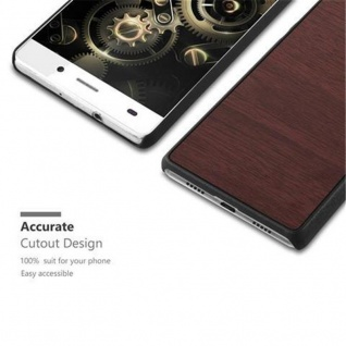 Cadorabo Hülle für Huawei P8 LITE 2015 in WOODY KAFFEE ? Hardcase Handyhülle aus Plastik gegen Kratzer und Stöße ? Schutzhülle Bumper Ultra Slim Back Case Hard Cover - Vorschau 2