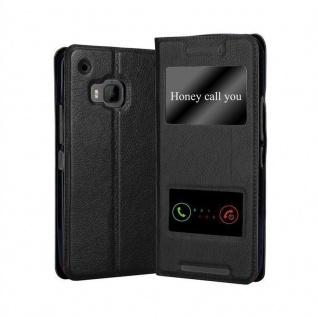 Cadorabo Hülle für HTC One M9 in KOMETEN SCHWARZ - Handyhülle mit Magnetverschluss, Standfunktion und 2 Sichtfenstern - Case Cover Schutzhülle Etui Tasche Book Klapp Style