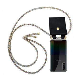 Cadorabo Handy Kette für Samsung Galaxy A90 5G in RAINBOW Silikon Necklace Umhänge Hülle mit Gold Ringen, Kordel Band Schnur und abnehmbarem Etui Schutzhülle