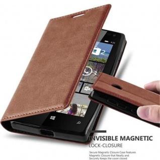 Cadorabo Hülle für Nokia Lumia 435 in CAPPUCCINO BRAUN - Handyhülle mit Magnetverschluss, Standfunktion und Kartenfach - Case Cover Schutzhülle Etui Tasche Book Klapp Style