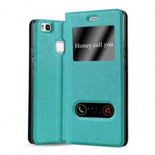 Cadorabo Hülle für Huawei P9 LITE in MINT TÜRKIS - Handyhülle mit Magnetverschluss, Standfunktion und 2 Sichtfenstern - Case Cover Schutzhülle Etui Tasche Book Klapp Style
