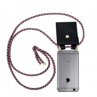 Cadorabo Handy Kette für Apple iPhone 6 PLUS / iPhone 6S PLUS in ROT GELB WEISS - Silikon Necklace Umhänge Hülle mit Gold Ringen, Kordel Band Schnur und abnehmbarem Etui ? Schutzhülle