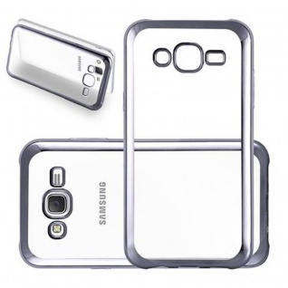 Cadorabo Hülle für Samsung Galaxy J5 2015 - Hülle in TRANSPARENT mit CHROM SCHWARZ ? Handyhülle aus TPU Silikon im Chrom Design - Silikonhülle Schutzhülle Ultra Slim Soft Back Cover Case Bumper